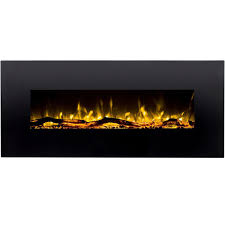 denali 60 inch black ventless heater electric wall mounted fireplace log pebble and crystal
