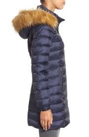 kate spade new york women s bow back down coat with faux fur trim deep navy