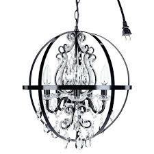 chandeliers black orb chandelier crystal beaded globe plug in decor 5 light wrought iron