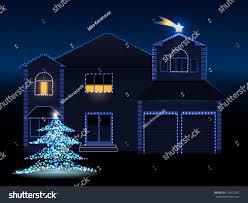 Christmas Lights Star Of David Raster Illustration Decorated House Lights Christmas Stock
