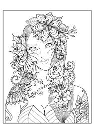 Woman Flowers Anti Stress Adult Coloring Pages