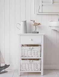 Impressive White Wood Free Standing Bathroom Storage Cabinet Unit