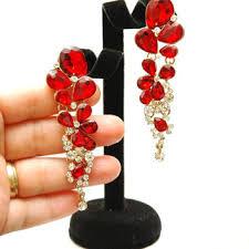 red crystal earrings long rhinestone earrings long chandeli