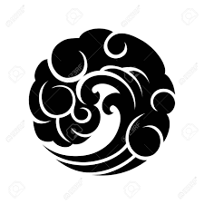 Abstract Graphic Wave In The Shape Of Circle Blackwork Tattoo