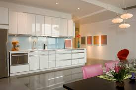 Modern Glass Kitchen Cabinets Decorations Hidden Cabinet In Kitchen With Pure White Tone That