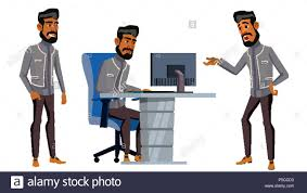 side view office set. Arab Man Office Worker Vector. Business Set. Traditional Clothes. Arab, Muslim. Side View Set I