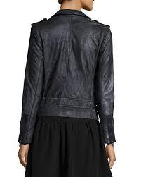 rebecca taylor metallic leather zip front motorcycle jacket metal neiman marcus