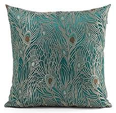 blue and green throw pillows. Fablegent 18 X 18-Inch Sapphire Blue Peacock Design Elegant Decorative Throw Pillow Cover And Green Pillows H