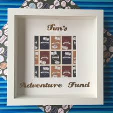 adventure fund pports money box frame personalised with any name