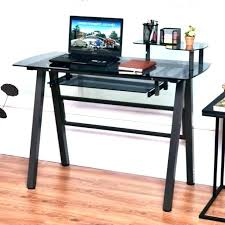 glass computer desk and printer stand black simple stylish with shelf drawer home computer desk with hutch and printer stand
