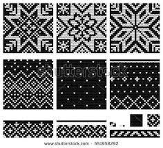 Set Of Norwegian Star Knitting Patterns Knitted Mittens