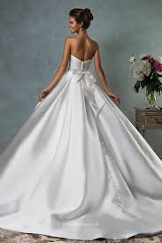 Strapless Floor Length White Satin Simple Ball Gown Wedding Dress