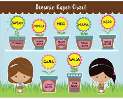 Girl Scout Daisy Kaper Chart Printable Brownie Girl Scout Kaper Chart Printable Instant Download