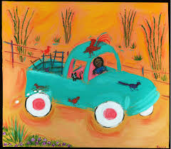 truck cat market day mexican folk art romy painting