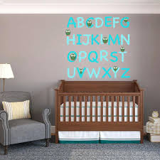 boys wall stickers turquoise owl alphabet wall decal set baby wall art stickers ebay childrens wall stickers ireland on nursery wall art stickers ebay with boys wall stickers turquoise owl alphabet wall decal set baby wall
