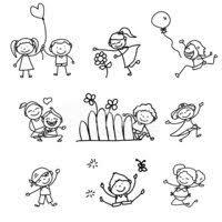 Mano Disegno Bambini Felici Dei Cartoni Animati Stock Immagini