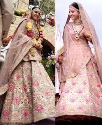 Light Pink Indian Wedding Dress Re Virushka Light Pink Nylon Mono Net Wedding Lehenga