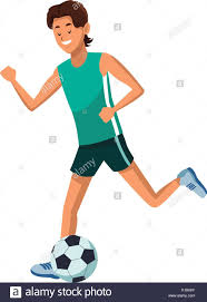 Soccer Graphic Design Young Man Playing Soccer Cartoon Vector Illustration Graphic