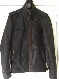 superdry leather jacket dark brown er style small mens superdry clearance superdry shirts