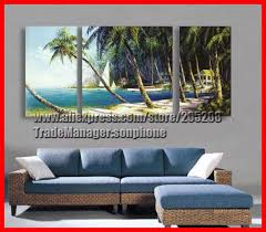 remarkable framed 3 panel large oil painting beach palms on large 3 panel wall art with 3 panel wall art wall decor ideas