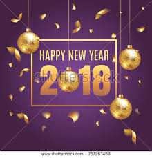 Happy New Year 2018 elegant purple background template with gold Christmas  balls and confetti with a