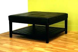 black faux leather square ottoman large size of coffee table storage