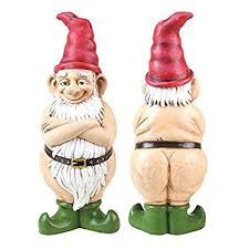 exhart gnome garden statue funny resin gnome statue w long white beard wearing