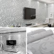 Wallpaper For Living Room Feature Wall New Heavyweight Vinyl Silver Grey Damask Feature Wall Paper Sliver
