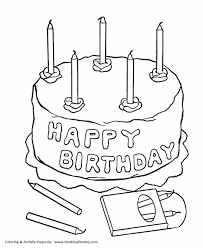Small Picture Birthday Coloring Pages Free Printable Kids Happy Birthday Cake