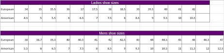 74 Curious Exustar Shoe Size Chart