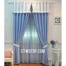 Simple Clearance Cheap Bedroom White And Blue Polka Dot Curtains