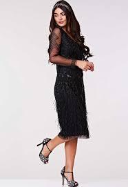 Gatsbylady Ivy Black Feather Midi Dress   Little Black Dress