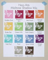 Hero Arts Shadow Ink Color Chart Stamped Samples Of All 14 Hero Arts Mid Tone Shadow Inks