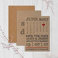 Personalised Kraft Save The Date Cards Retro Calendar Free Draft