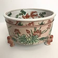 Chinoiserie Design On Pottery And Porcelain Vintage Chinoiserie Koi Fish Ceramic Planter Chinoiserie