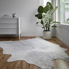clayton grey silver faux cowhide rug 6u0026x27 grey cowhide rug w21