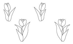Kleurplaat Tulp Tulpen Mit Blaettern Ausmalbild Malvorlage Blumen