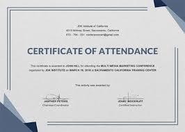 Free Conference Attendance Certificate Template Download 200 Samples