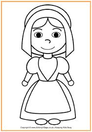 thanksgiving pilgrim girl coloring pages. Plain Girl Pilgrim Girl Colouring Page  Thanksgiving Pages For Kids Inside Coloring Pinterest