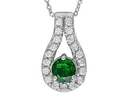 green chrome diopside sterling silver pendant with chain 1 74ctw wos362 jtv com
