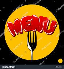 The Word Menu Cover Menu Word Menu Punctured Fork Stock Vector Royalty