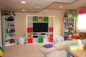 Basement ideas for kids area Finished Basement Interiorcreative Kids Room Designs In Basement Ideas With White Open Shelves Also Cozy Cream Winrexxcom Interior Creative Kids Room Designs In Basement Ideas With White