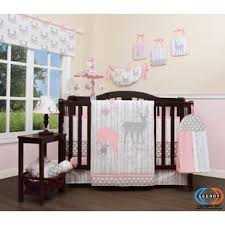 Three Lakes Baby Girl Deer Family Nursery 13 Piece Crib Bedding Set