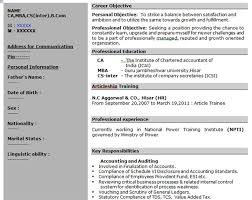 Chartered Accountant Resumes Download Chartered Accountant Resume Format Placement