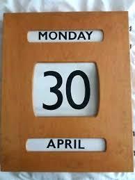 wooden perpetual wall calendar german