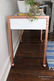 spray painting wood furnitureDIY Faux Copper Table