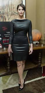 tight black leather dress