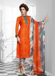 Punjabi Suit Stitching Designs Striking Orange Cotton Silk Designer Suit