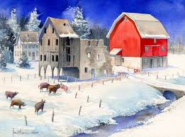 two barns one red 5 x 7 gloss image mat inside