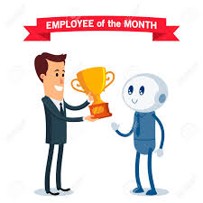 Employee Of The Month Award A Robot Receives The Award For The Best Employee Of The Month